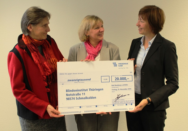 Fresenius Kabi Germany supports Blindeninstitut Thüringen (Thuringia Institute for the Blind) with Christmas donation.
