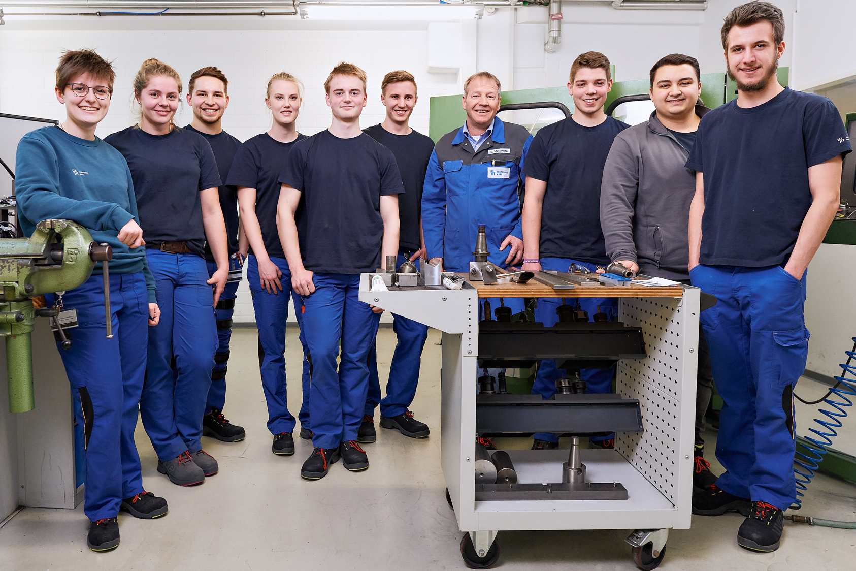 Eric teaches industrial mechanics and mechatronics apprentices in the workshop at the Fresenius Kabi plant in Friedberg, Germany